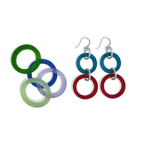 Earrings - Teal and ruby red glass and sterling silver - Libby Douglas Jewellery Designs
