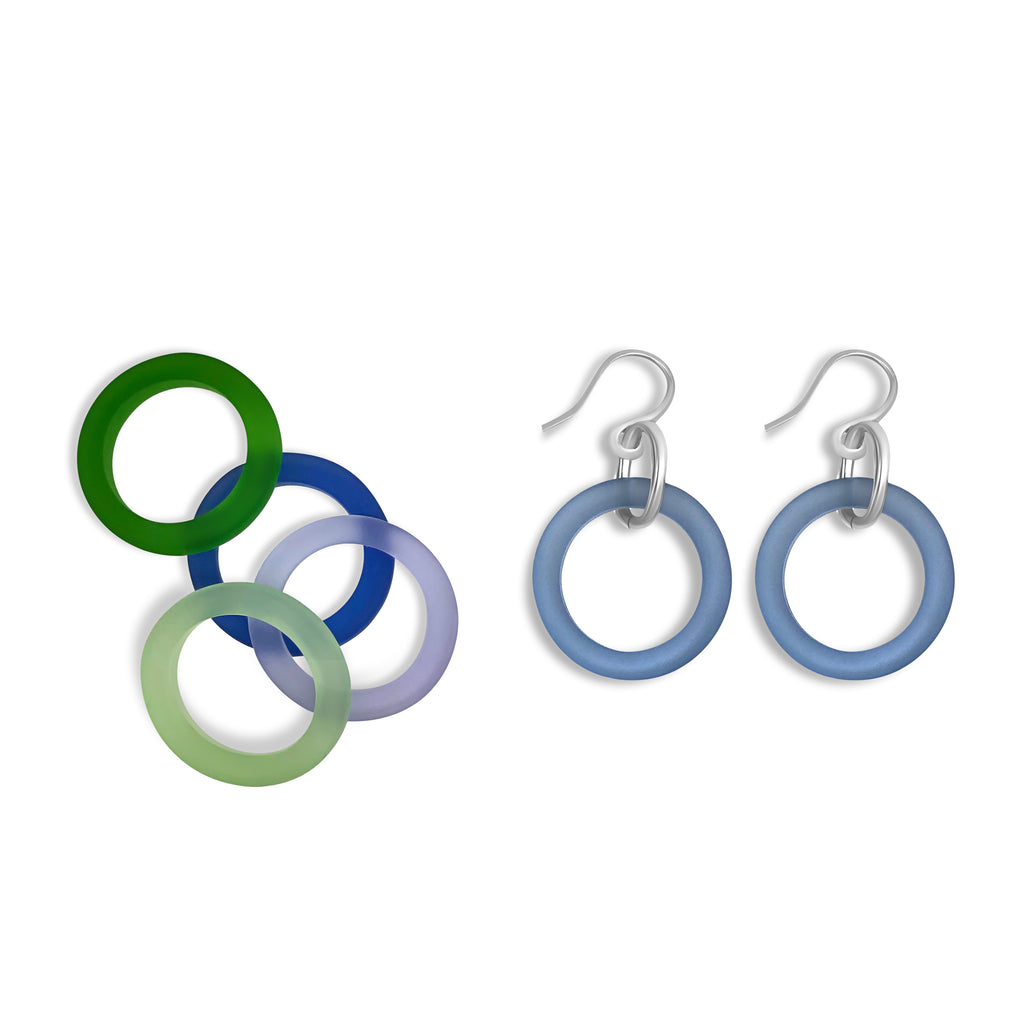 Earrings - Soft blue glass and sterling silver - Libby Douglas Jewellery Designs