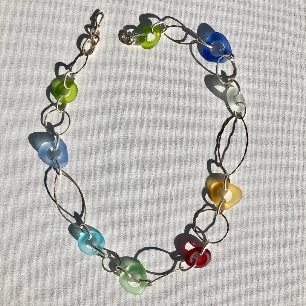 Necklace - Sterling silver and glass (gold, mint,l ilac, ruby, turquoise, royal blue and lime)