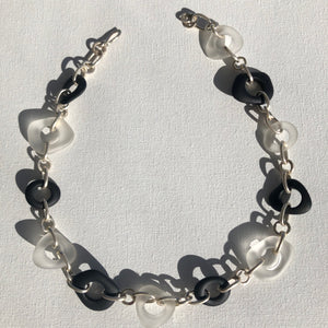Necklace - Sterling silver with black and opaque glass