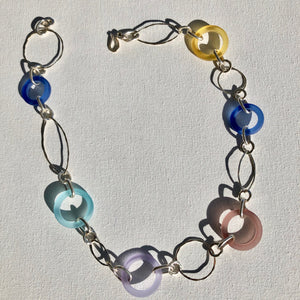 Necklace - Sterling silver and glass
