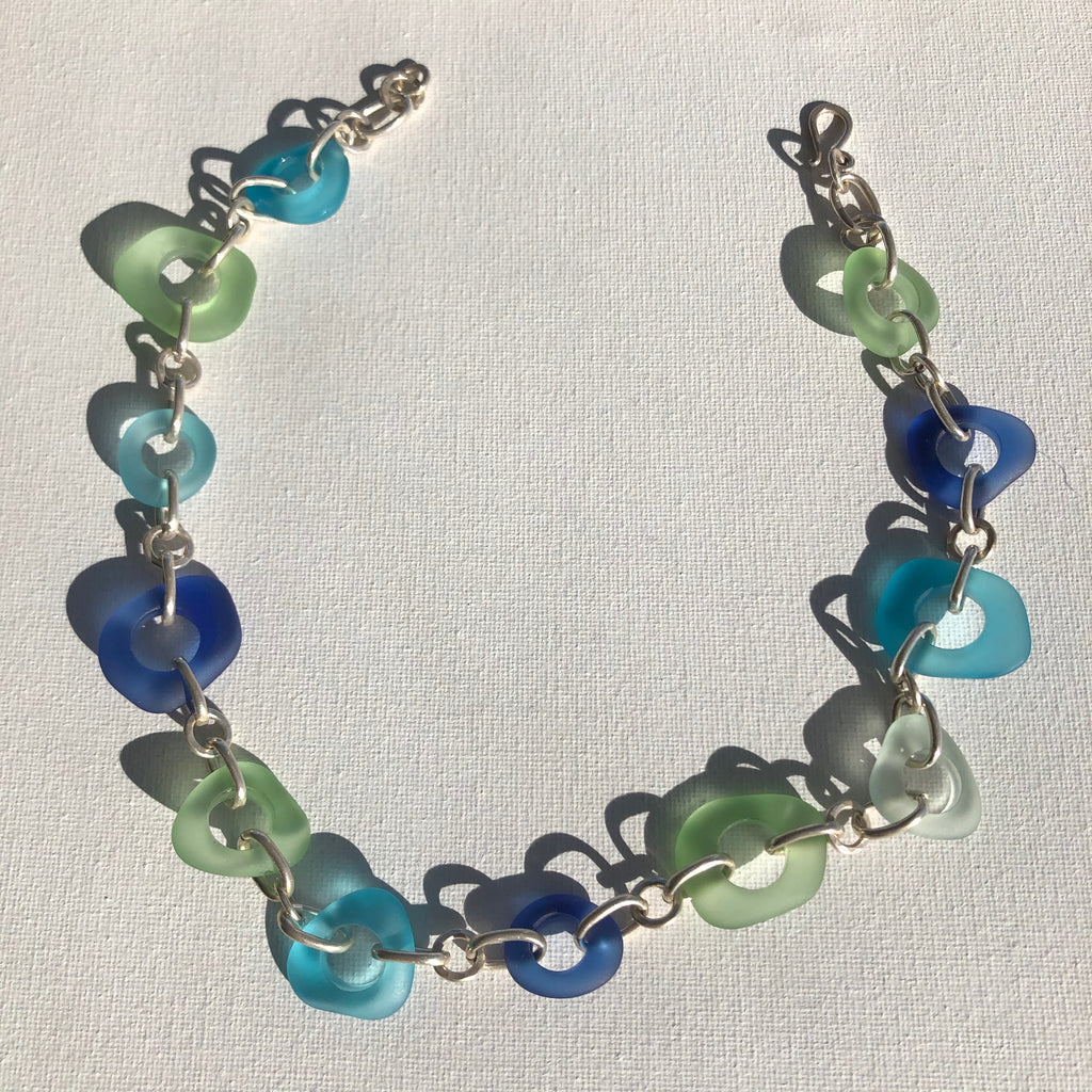 Necklace - Sterling silver and turquoise, royal blue and mint glass