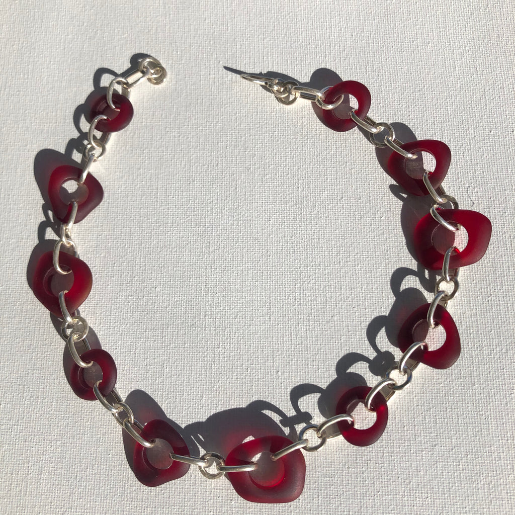 Necklace - Sterling silver and ruby red glass