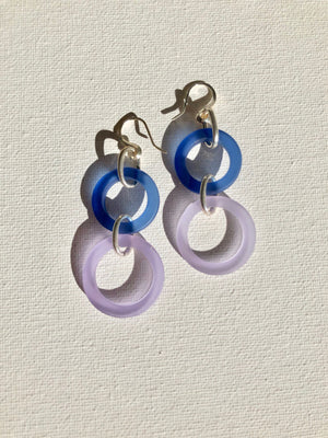 Earrings - Sterling silver with royal blue and lilac glass