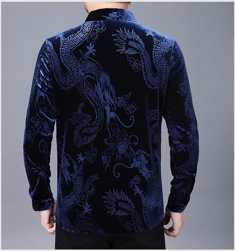 Chido Velvet Dragon Long Sleeve Blue