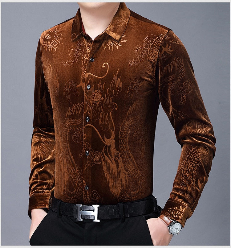Chido Velvet Dragon Long Sleeve Brown