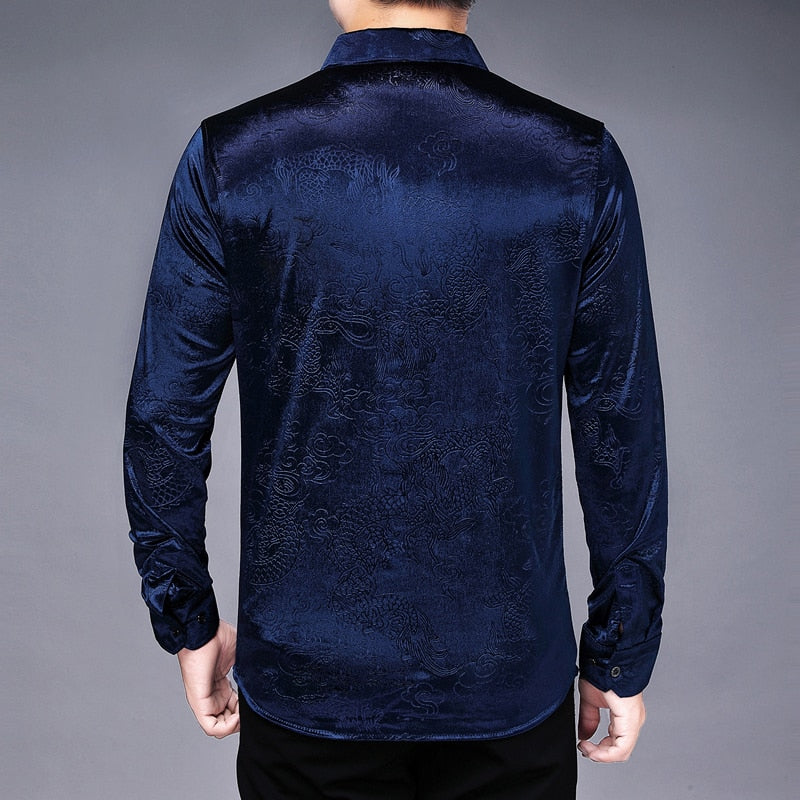 Chido Dragon Shimmer Long Sleeve Blue