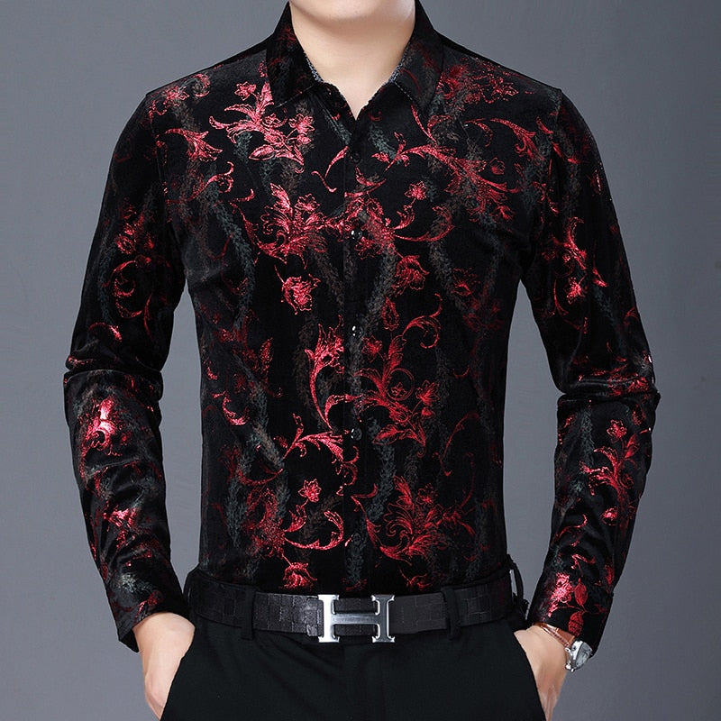 Chido Floral Contrast Long Sleeve Red