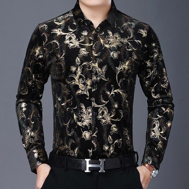 Chido Floral Contrast Long Sleeve Gold