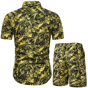 Verano Jungle Collage Yellow Short Sleeve and Shorts Combo