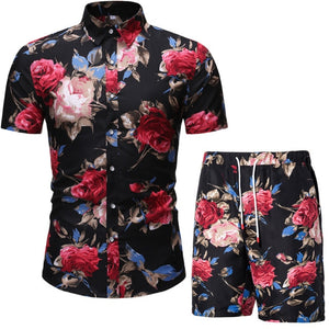 Verano Rose Black Short Sleeve and Shorts Combo
