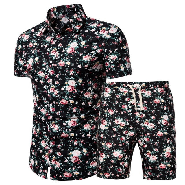 Verano Pink Flower Short Sleeve and Shorts