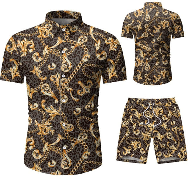 Verano Golden Chain Short Sleeve Shirt and Shorts Combo