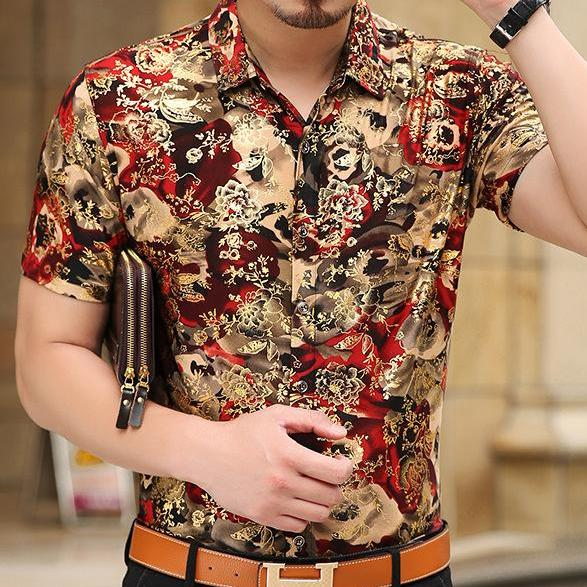 Mierda Red/Gold Short Sleeve Shirt Inspired by Pacho Herrera - Pacho Herrera Narcos Shirts