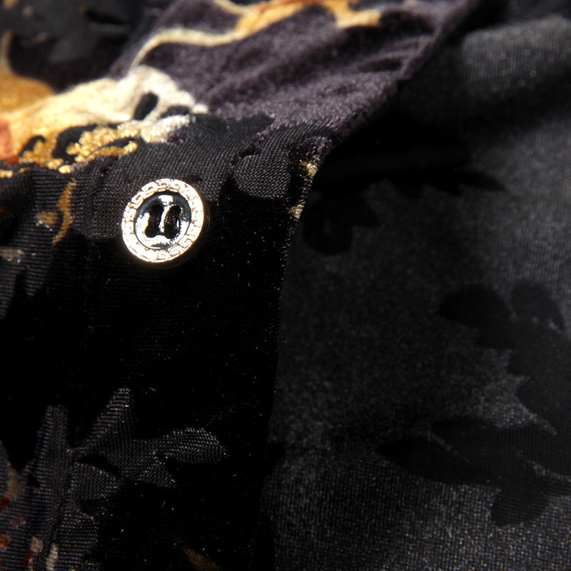 Malparido Black/Orange Velvet Long Sleeve Shirt
