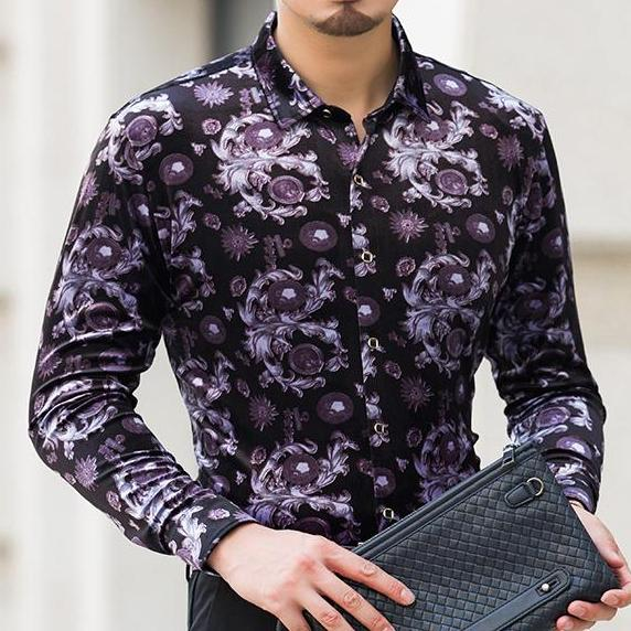 Malparido Black/Purple Velvet Long Sleeve Shirt - Pacho Herrera Narcos Shirts