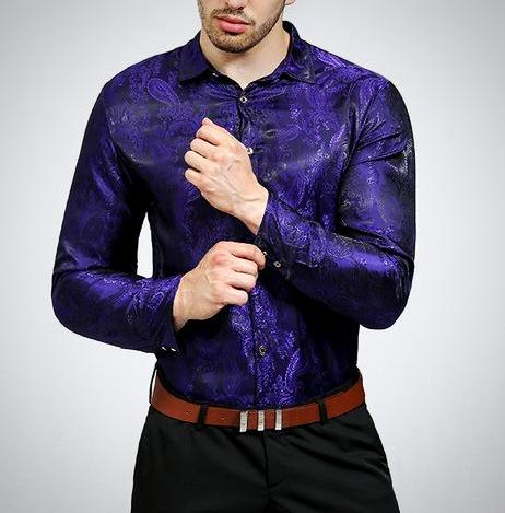 Cabron Purple Paisley Long Sleeve Shirt - Pacho Herrera Narcos Shirts