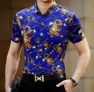 Machotes Black/Blue Dragon Short Sleeve Shirt - Pacho Herrera Narcos Shirts