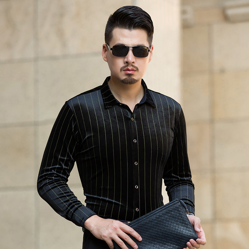 Machotes Pinstripes Long Sleeve Shirt - Pacho Herrera Narcos Shirts