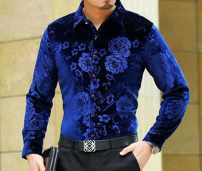 Machotes Velvet Rose Blue Long Sleeve Shirt - Pacho Herrera Narcos Shirts