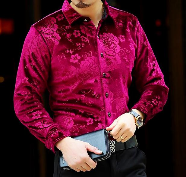 Machotes Velvet Rose Red Long Sleeve Shirt - Pacho Herrera Narcos Shirts