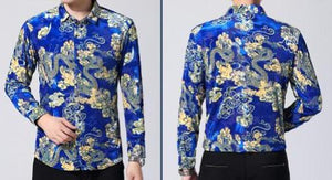 Machotes Black/Blue Dragon Long Sleeve Shirt - Pacho Herrera Narcos Shirts