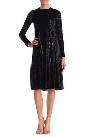 Black Ruffle Bottom Snakeskin Dress