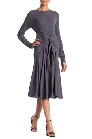 Gray Ribbed Tie Front Dress