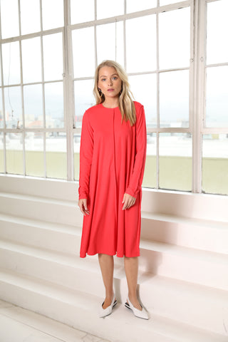 Coral Ribbed Raw Edge Dress