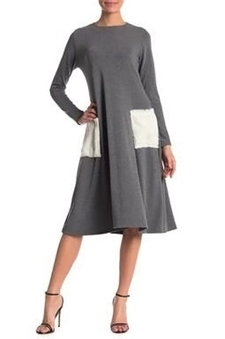 Ivory Charcoal Fur Pocket Flaredress