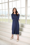 Navy Ribbed Raw Edge Dress