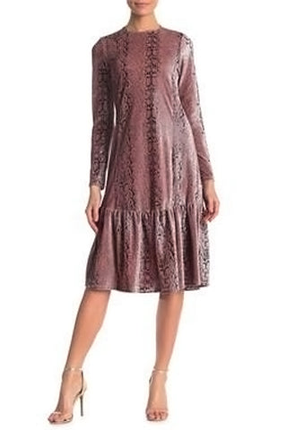 Mauve Ruffle Bottom Snakeskin Dress