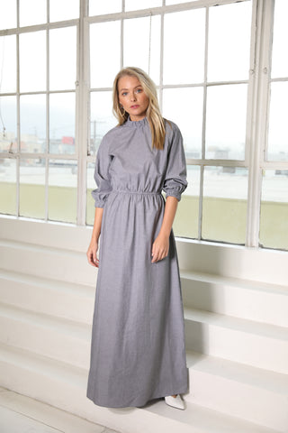 Pinstripe maxi shirt dress