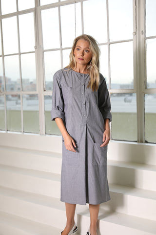 Black Linen Stripe Pocket Dress