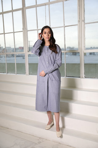 Chambray Linen Stripe Pocket Dress