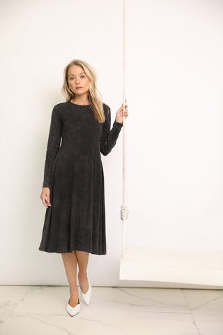 Black Ribbed Mineral Wash Dress
