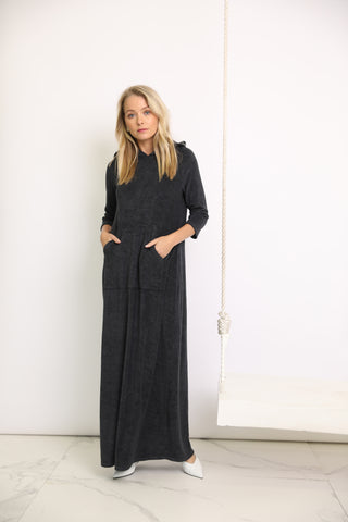 Black Washed Terry Hoodie Maxi