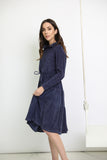 Navy Washed Terry Hoodie Dress