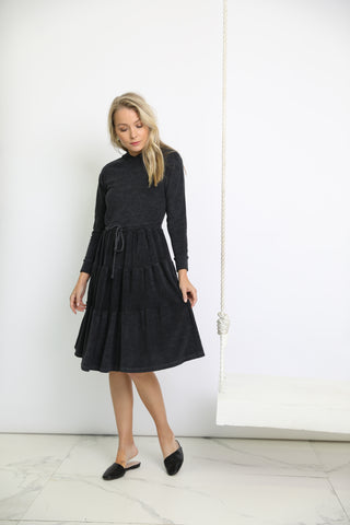 Black Washed Terry Hoodie Dress