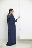 Navy Washed Terry Hoodie Maxi