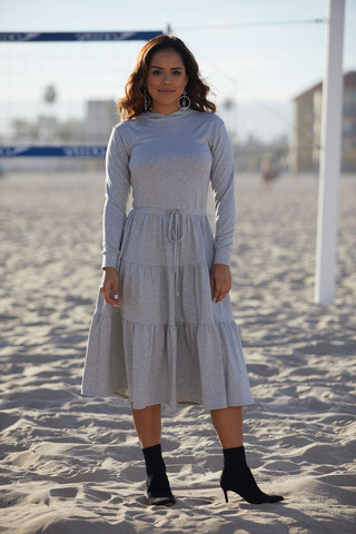 Heather Tiered Hoodie Dress