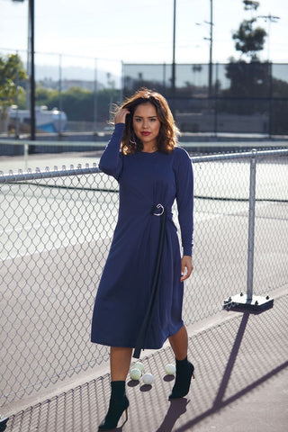 Navy D-Ring Tie Dress