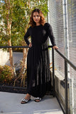 Black Tiered Wrap Effect Maxi