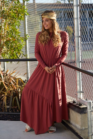 Marsala Tiered Wrap Effect Maxi