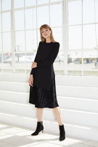 Black Ponte-Velvet Pleated Mix Media Dress