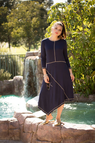 Navy + Sand Stitch Dress
