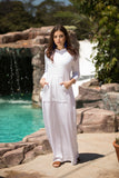 White loop Terry Hooded Maxi