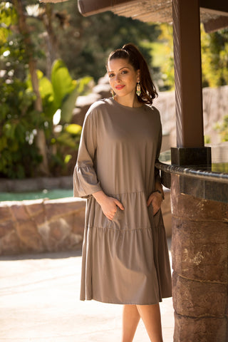 Sand Tiered Dress