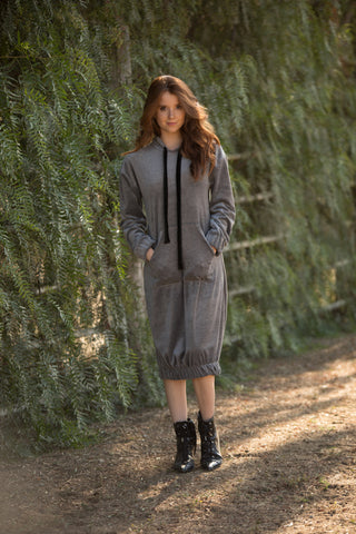 Velour Hoodie Dress