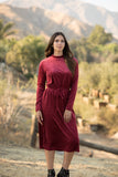 Burgundy Velvet Ribbed Drawstring Dress